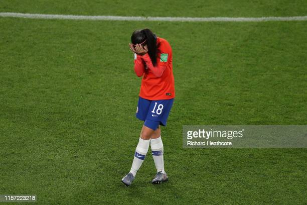 Camila Saez of Chile looks dejected following the 2019 FIFA Women's World Cup France group F match between Thailand and Chile at Roazhon Park on June...