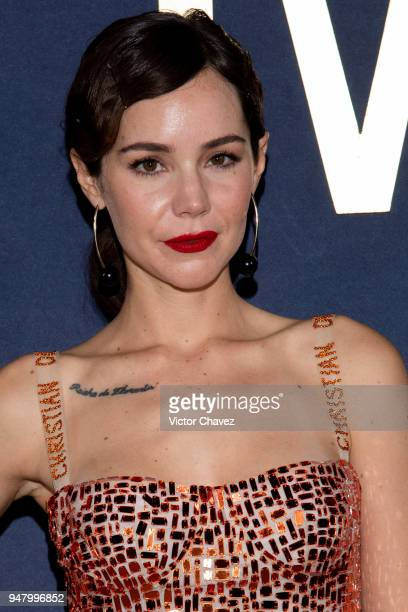 Camila Sodi poses during the Netflix Luis Miguel Premiere Red Carpet at Cinemex Antara on April 17 2018 in Mexico City Mexico