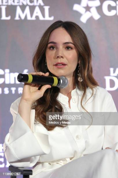 Camila Sodi speaks during film 'La Herencia del Mal' press conference at CinÈpolis Portal San Angel on March 28 2019 in Mexico City Mexico