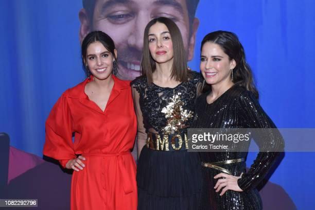 Camila Valero Cecilia Suarez and Ana Claudia Talancon poses for photos during a red carpet as part of the film 'Perfectos Desconocidos' premiere at...