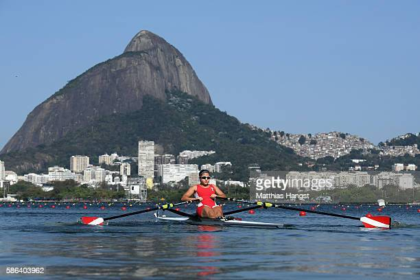 Camila Valle Granados of Peru competes during the Women's Single Sculls Heat 3 on Day 1 of the Rio 2016 Olympic Games at the Lagoa Stadium on August...