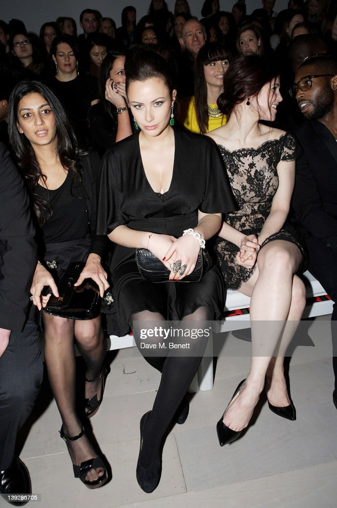 Camilla Al Fayed, Gemma Arterton and Tinie Tempah sit in the front row at the Issa London catwalk show during London Fashion Week Autumn/Winter 2012 at Somerset House on February 18, 2012 in London, England.