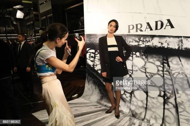 Camilla Alibrandi and Roberta Mattei attend the cocktail reception to present Prada Resort 2018 collection on December 14th 2017 in Prada's Via dei...