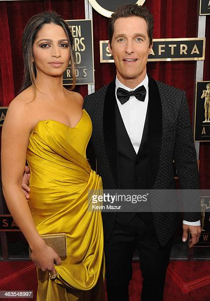 Camilla Alves and Matthew McConaughey attend 20th Annual Screen Actors Guild Awards at The Shrine Auditorium on January 18 2014 in Los Angeles...