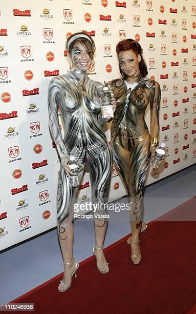 Camilla Bacelo and Eva Kosmowski during 2005 MTV VMA Stuff Magazine Party Arrivals at Sagamore Hotel in Miami Beach Florida United States