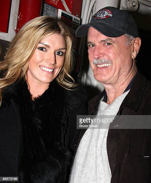 Camilla Cleese and father John Cleese pose backstae at Speed The Plow on Broadway at The Barrymore Theater on November 4 2008 in New York City