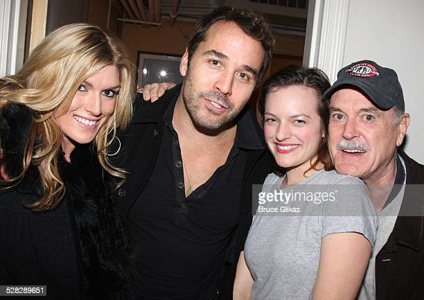 Camilla Cleese Jeremy Piven Elisabeth Moss and John Cleese pose backstage at Speed The Plow on Broadway at The Barrymore Theater on November 4 2008...