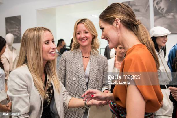 Camilla Cucinelli and Olivia Palermo are seen at the Brunello Cucinelli presentation during Milan Fashion Week Spring/Summer 2019 on September 19...