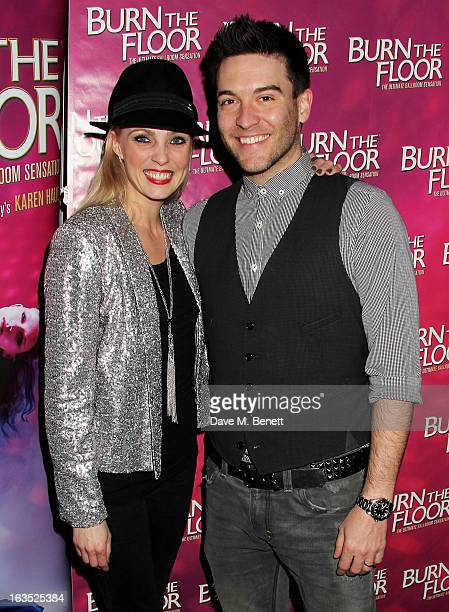 Camilla Dallerup and Kevin Sacre attend an after party celebrating the press night performance of 'Burn The Floor' at the Trafalgar Hotel on March 11...