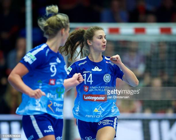 Camilla Degn of Randers HK celebrate after goal during the Santander Final4 3 4 place match between Randers HK and Team Esbjerg in Blue Water Dokken...