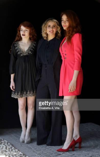 Camilla Diana Greta Scarano and Antonia Fotaras attends the photocall for Il Nome Della Rosa at Rai Viale Mazzini on February 28 2019 in Rome Italy