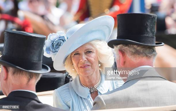 Camilla Ducehss of Cornwall arrives by carriage at Royal Ascot 2017 at Ascot Racecourse on June 21 2017 in Ascot England