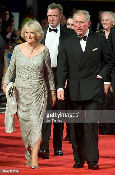 Camilla, Duchess of Conrwall and Prince Charles, Prince of Wales attend the Royal film performance of Hugo in 3D at The Odeon Leicester Square on...