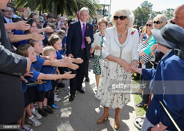 Camilla Duchess of Conrwall meets members of the public outside the convention centre n November 7 2012 in Adelaide Australia The Royal couple are in...