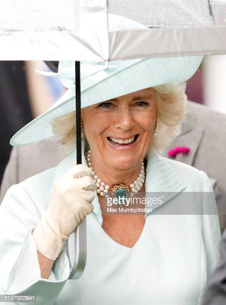 Camilla, Duchess of Conwall shelters under an umbrella as she attends day two of Royal Ascot at Ascot Racecourse on June 19, 2019 in Ascot, England.
