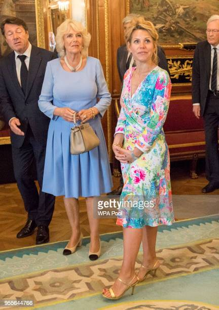 Camilla Duchess of Cornwal is greeted by Mr Christian Estrosi Mayor of Nice and wife Laura Tenoudji at Villa Massena where they will lay a wreath for...