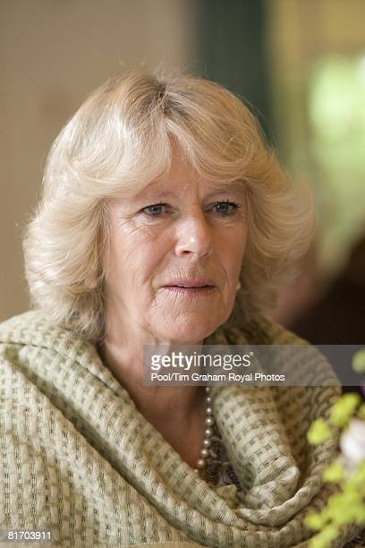 Camilla Duchess of Cornwall a member of the WI meets members of the Myddfai Women's Institute at the village hall in Myddfai near Llandovery on June...