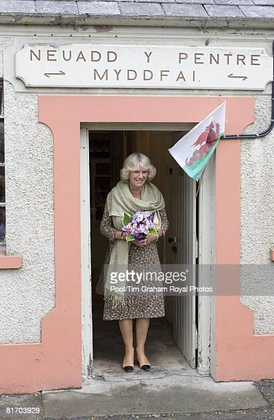 Camilla Duchess of Cornwall a member of the WI visits the Myddfai Women's Institute at the village hall in Myddfai near Llandovery on June 25 2008 in...