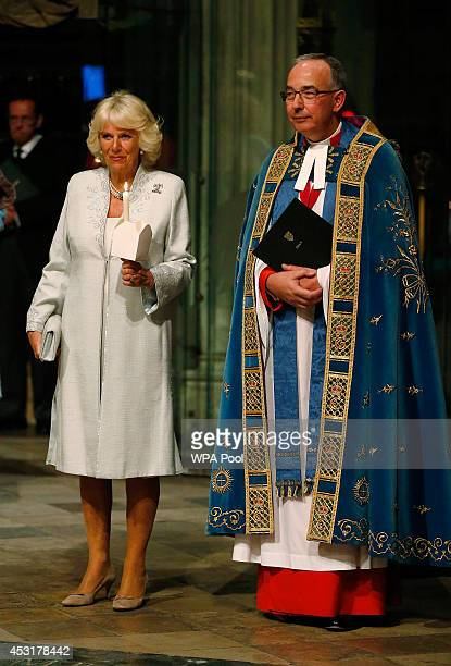 Camilla Duchess of Cornwall accompanied by Dean of Westminster the Reverend John Hall attends a candlelit vigil and prayer service to mark the...