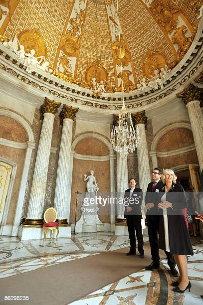Camilla Duchess of Cornwall accompanied by Hartmut Dorgerloh Director of the Foundation of Prussian Palaces and Gardens tours Sanssouci Palace and...