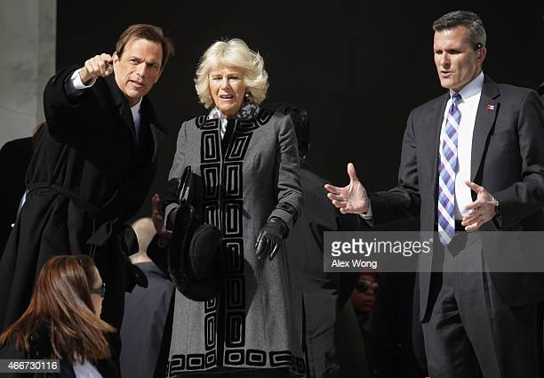 Camilla Duchess of Cornwall accompanied by historian Michael Beschloss visits the Lincoln Memorial March 18 2015 in Washington DC The Royal couple is...