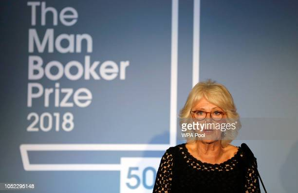 Camilla Duchess Of Cornwall addresses the guests during the Man Booker Prize for Fiction 2018 the prize's 50th year at the Guildhall on October 16...