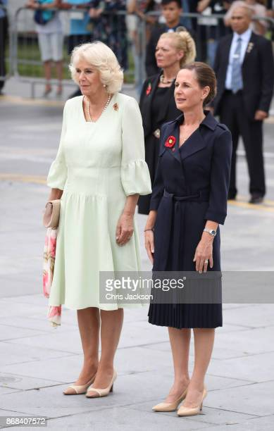 Camilla Duchess of Cornwall and Alex Moore wife of the Defence Attache attend a memorial ceremony at the Cenotaph war memorial on October31 2017 in...