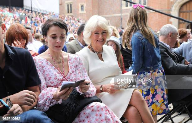 Camilla Duchess of Cornwall and Amanda Abbington at the live broadcast of the final of BBC Radio 2's 500 Words creative writing competition at...