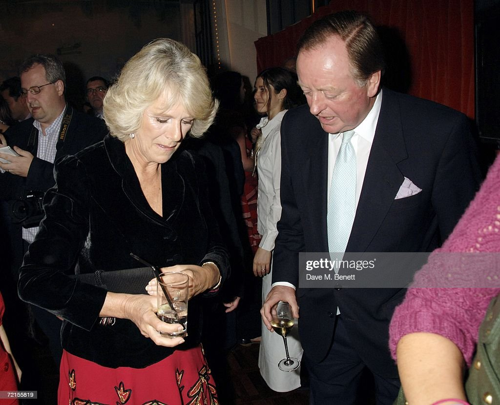 Camilla, Duchess of Cornwall and Andrew Parker Bowles attend the book launch of 'The Year Of Eating Dangerously' by Tom Parker Bowles, at Kensington Place on October 12, 2006 in London, England.