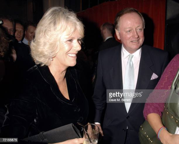 Camilla Duchess of Cornwall and Andrew Parker Bowles attend the book launch of 'The Year Of Eating Dangerously' by Tom Parker Bowles at Kensington...