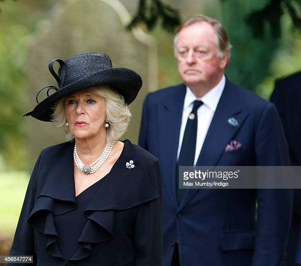 Camilla Duchess of Cornwall and Andrew Parker Bowles attend the funeral of Deborah Dowager Duchess of Devonshire at St Peter's Church Edensor on...