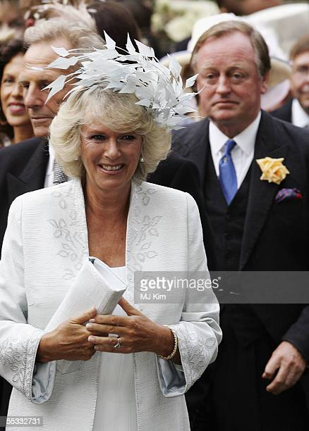 Camilla Duchess of Cornwall and Andrew ParkerBowles are seen at the wedding of their son Tom ParkerBowles to Sara Buys after their marriage held at...