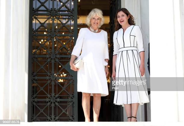Camilla Duchess of Cornwall and Betty Baziana partner of the Greek Prime Minister visit the Benaki Museum on May 9 2018 in Athens Greece Prince...