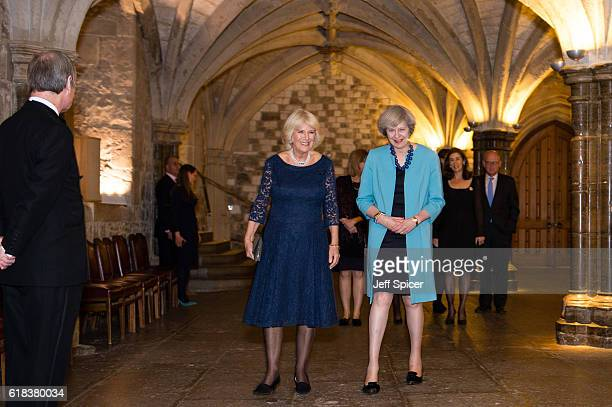 Camilla Duchess of Cornwall and British Prime Minister Theresa May attend a reception to celebrate the 30th anniversary of JDRF the type 1 diabetes...