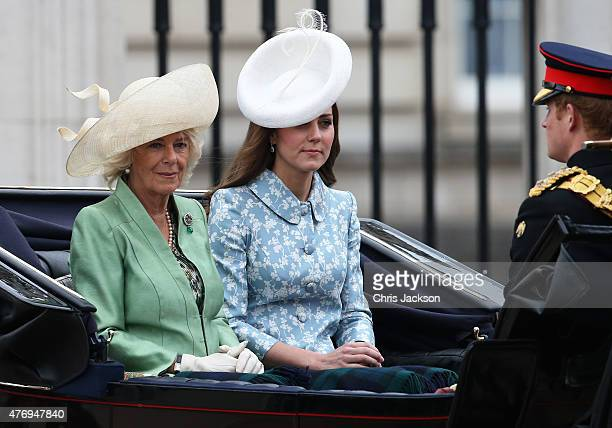 Camilla Duchess of Cornwall and Catherine Duchess of Cambridge arrive for the Trooping The Colour ceremony on June 13 2015 in London England The...