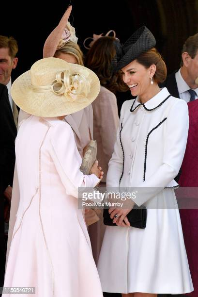 Camilla Duchess of Cornwall and Catherine Duchess of Cambridge attend the Order of the Garter service at St George's Chapel on June 17 2019 in...