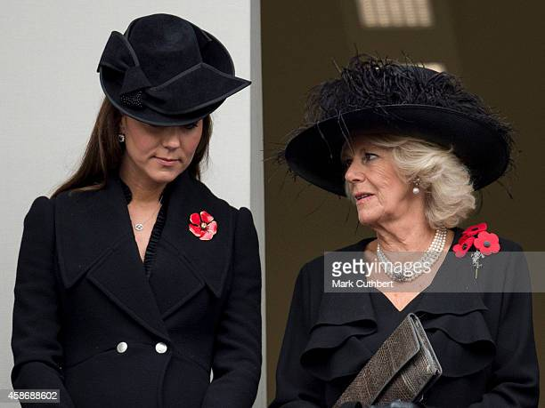 Camilla Duchess of Cornwall and Catherine Duchess of Cambridge attend the annual Remembrance Sunday Service at the Cenotaph on Whitehall on November...