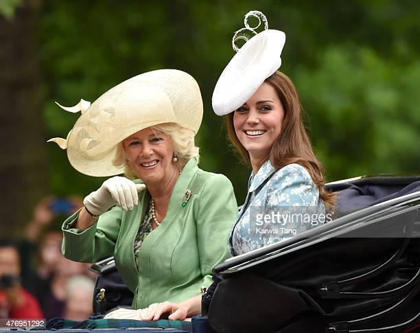 Camilla Duchess of Cornwall and Catherine Duchess of Cambridge attend the annual Trooping The Colour ceremony at Horse Guards Parade on June 13 2015...