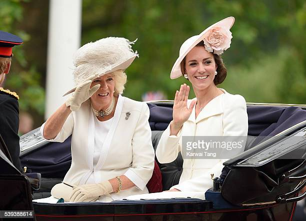 Camilla Duchess of Cornwall and Catherine Duchess of Cambridge attend the Trooping the Colour this year marking the Queen's official 90th birthday at...