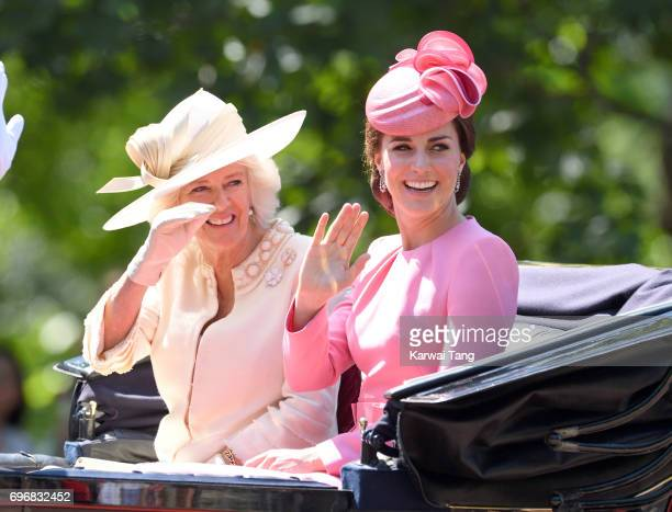 Camilla Duchess of Cornwall and Catherine Duchess of Cambridge attend the annual Trooping The Colour parade at the Mall on June 17 2017 in London...