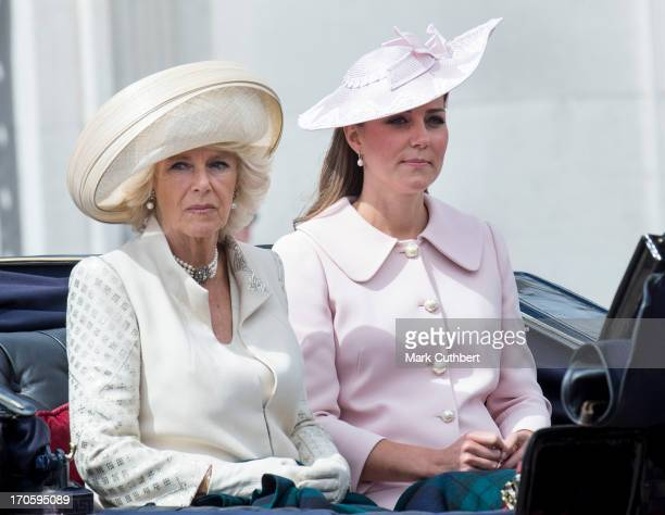 Camilla Duchess of Cornwall and Catherine Duchess of Cambridge during the annual Trooping The Colour ceremony at Horse Guards Parade on June 15 2013...