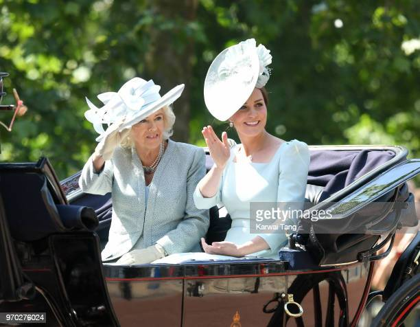 Camilla Duchess of Cornwall and Catherine Duchess of Cambridge during Trooping The Colour 2018 at The Mall on June 9 2018 in London England The...