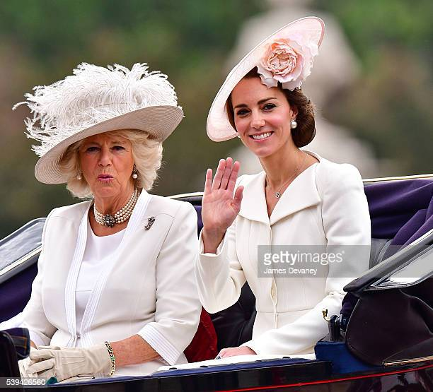 Camilla Duchess of Cornwall and Catherine Duchess of Cambridge leave Buckingham Palace during the Trooping the Colour this year marking the Queen's...