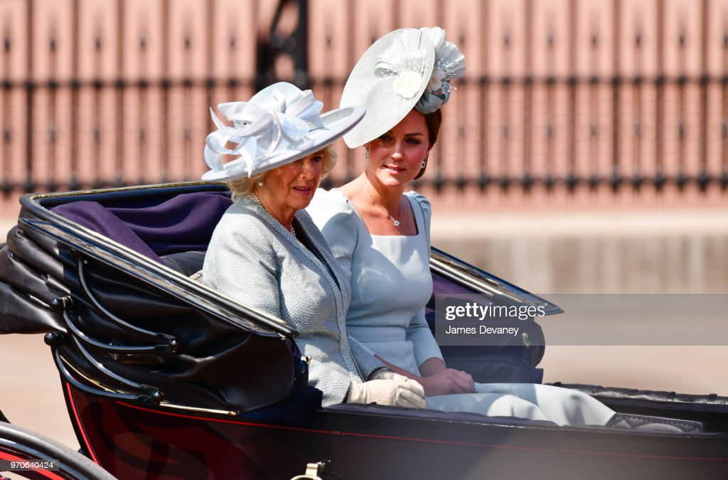 Camilla, Duchess Of Cornwall and Catherine, Duchess of Cambridge leave Buckingham Palace in a carriage during the Trooping the Colour parade on June 9, 2018 in London, England.