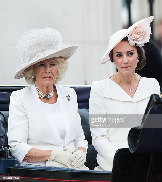 Camilla Duchess of Cornwall and Catherine Duchess of Cambridge ride by carriage during the Trooping the Colour this year marking the Queen's official...