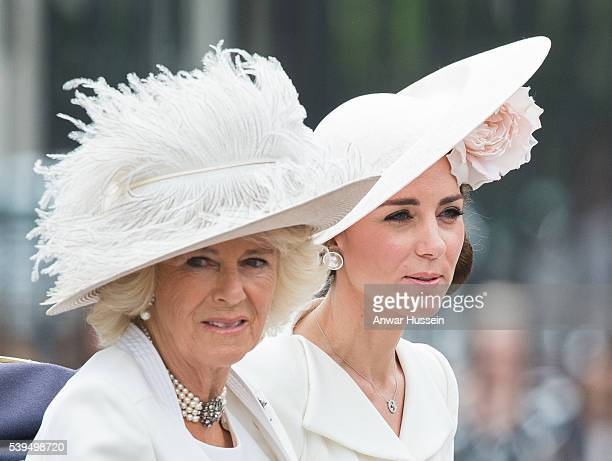 Camilla Duchess of Cornwall and Catherine Duchess of Cambridge ride in an open carriage during the Trooping the Colour ceremony to mark the Queen's...