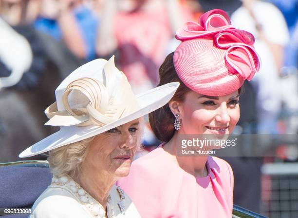 Camilla Duchess of Cornwall and Catherine Duchess of Cambridge ride by carriage during the annual Trooping The Colour parade on June 17 2017 in...