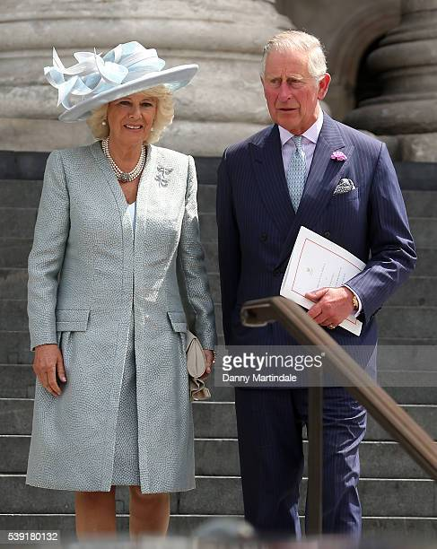 Camilla, Duchess of Cornwall and Charles, Prince of Wales attend a National Service of Thanksgiving as part of the 90th birthday celebrations for The...