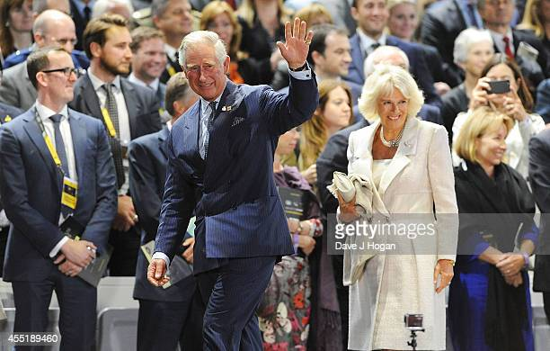 Camilla Duchess of Cornwall and Charles Prince of Wales attend the Opening Ceremony of the Invictus Games at Olympic Park on September 10 2014 in...