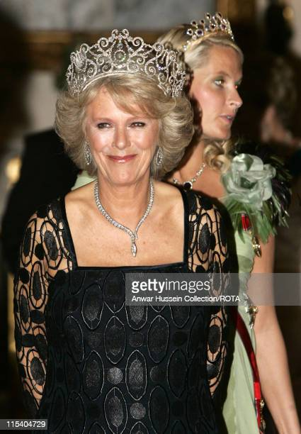 Camilla Duchess of Cornwall and Crown Princess MetteMarit of Norway pose before the banquet for the Norwegian Royal Family at Buckingham Palace on...